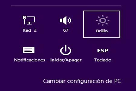 Cambiar configuración de Brillo en Windows 8