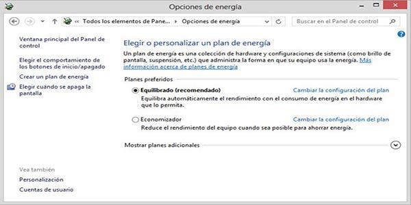 Configurar opciones de energía en Windows 8