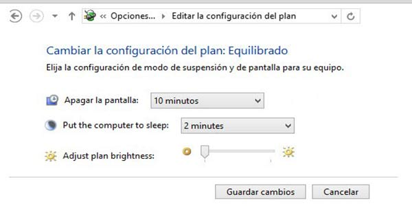 Configurar pantalla inactiva en Windows 8