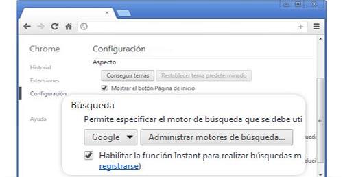 Búsqueda instantánea en Chrome