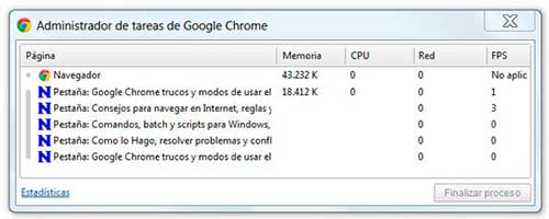 Iniciar Administrador de tareas y estadísticas en Chrome