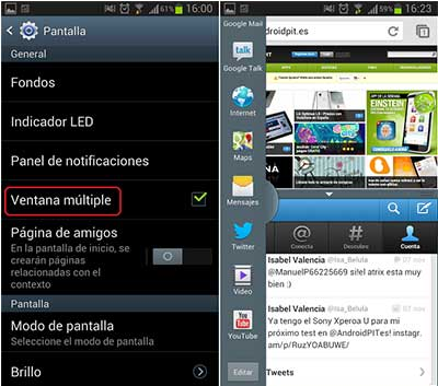 Activar el Modo Ventana Múltiple de Galaxy S4