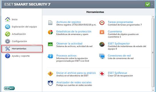 Herramientas Eset Antivirus 2014