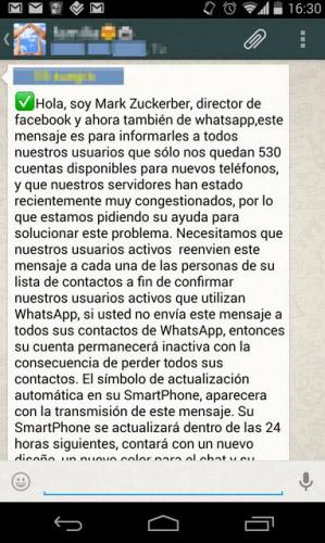 Mensajes peligrosos en WhatsApp